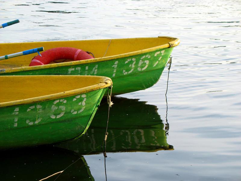 Boats on the Velikaya River bank.
