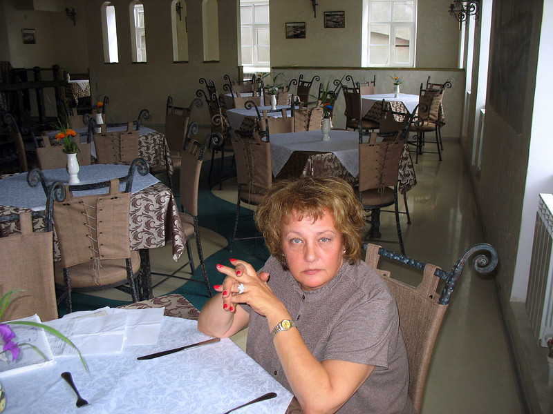 Susan in the hotel dining room.