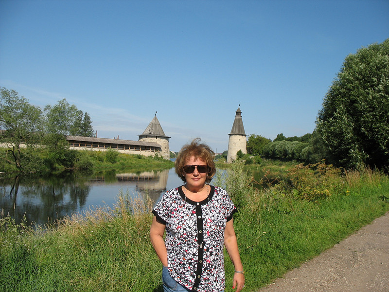Susan on the bank of the Pskov River.