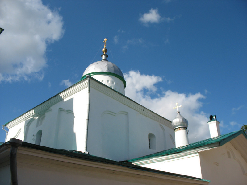 Nikolsky Cathedral domes inside Izborsk Fortress. 16th century.