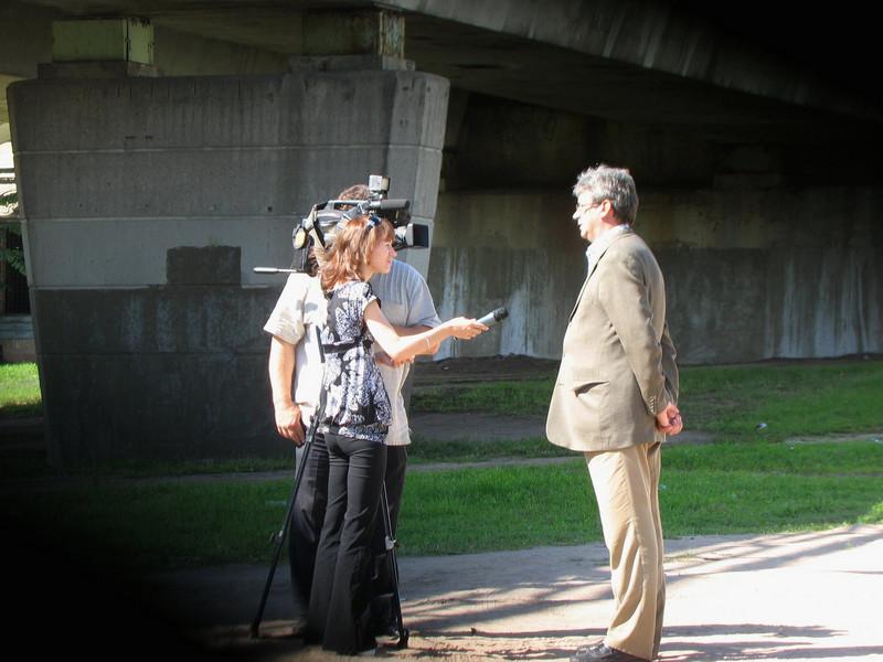 Rustem being interviewed by Pskov local TV.