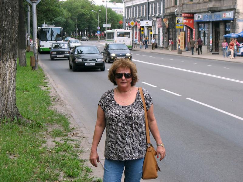 On the street in Pskov.