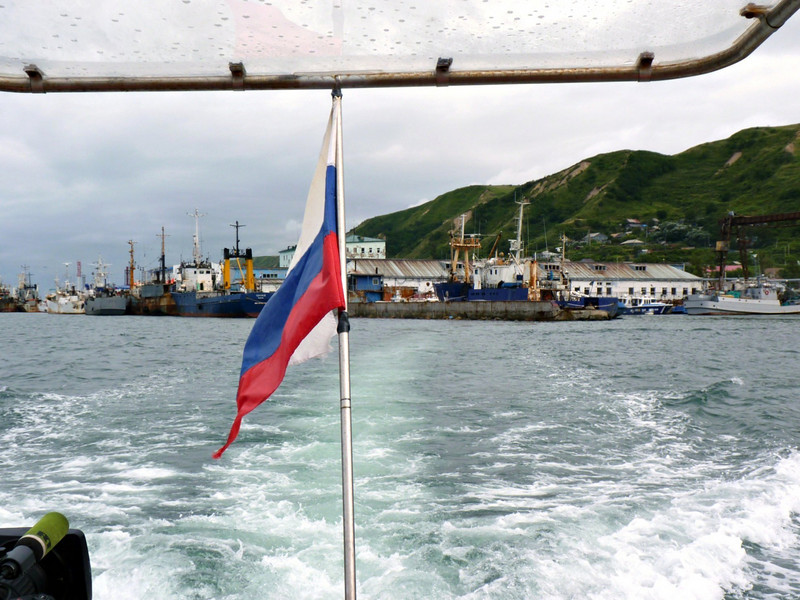 Leaving the port of Nevel'sk on our way to Moneron Island.