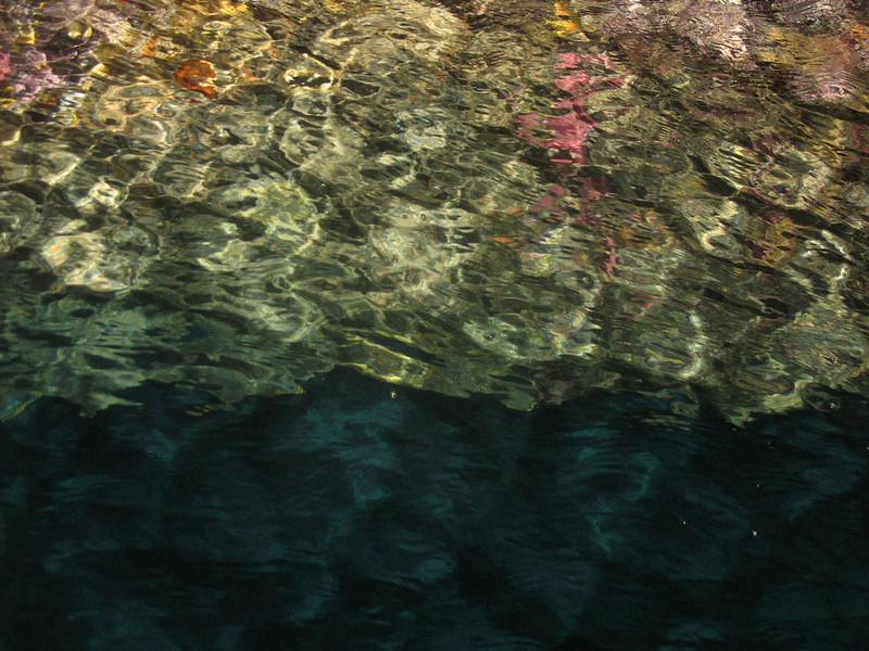 Transparent water.