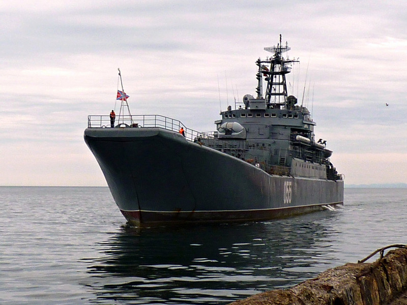 War ship arriving into port in honor of Victory celebration commemorating the end of the war with Japan. (Yzhno-Sakhlinsk, Russia)
