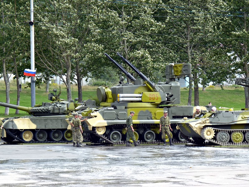 Tanks ready to roll in the Victory parade.
