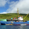 Blue trawler off Moneron Island. (Russian Far East)