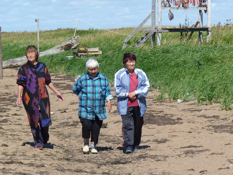 Nivkh women on the shoreline.