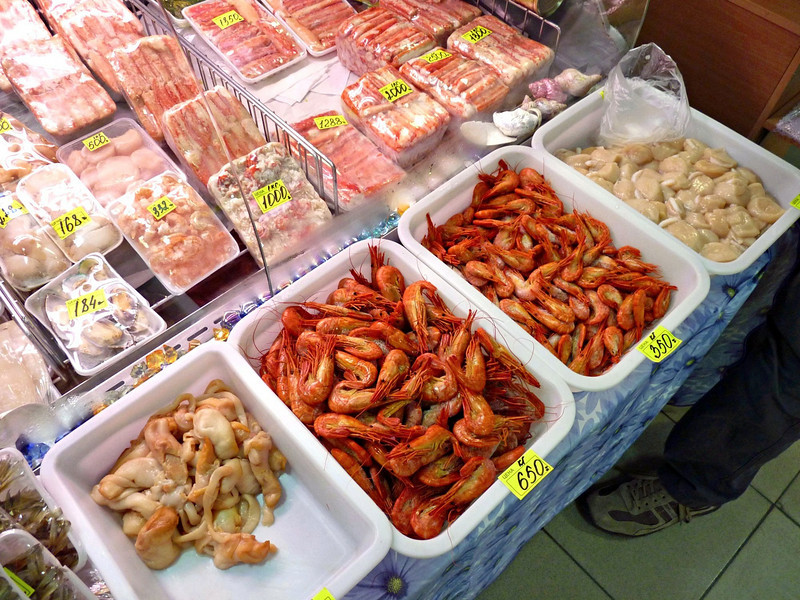 Yuzhno-Sakhalinsk market - all the fresh seafood & fish you could want.