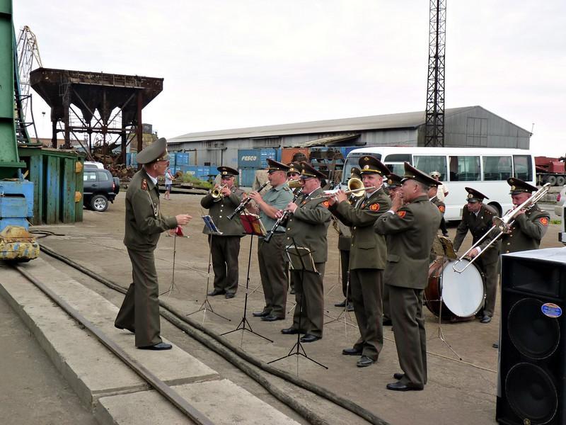 Military band greeting the ship.
