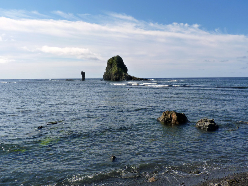 Dramatic rock formations in the Tatar Straits.