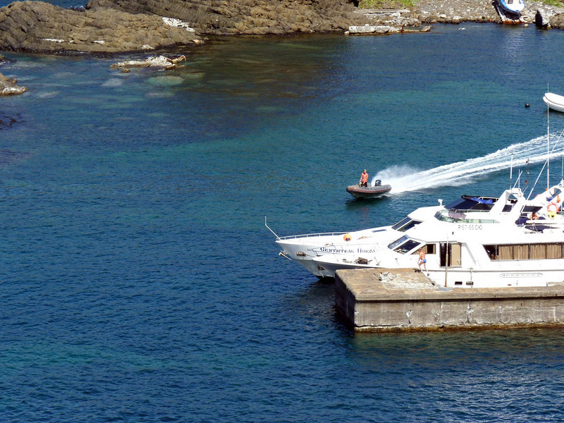Boat docked at Moneron.