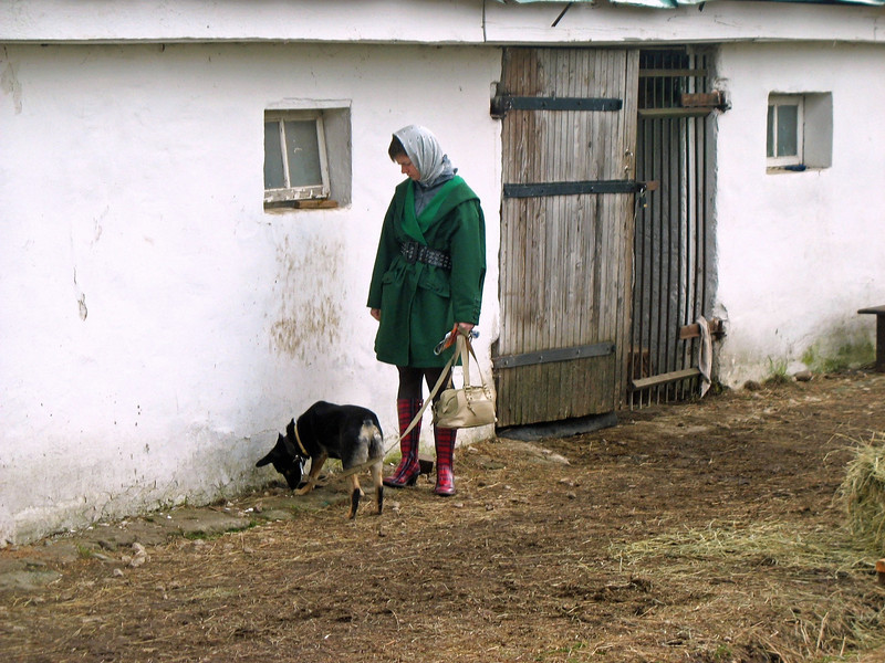Girl with dog in the village of Yasnaya Polyana.