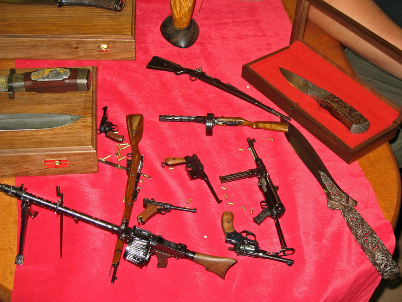 An assortment of functioning miniature weapons.