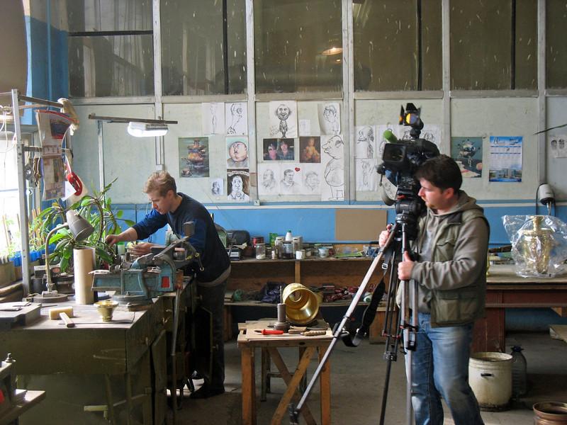 Filming at the Tula samovar factory.