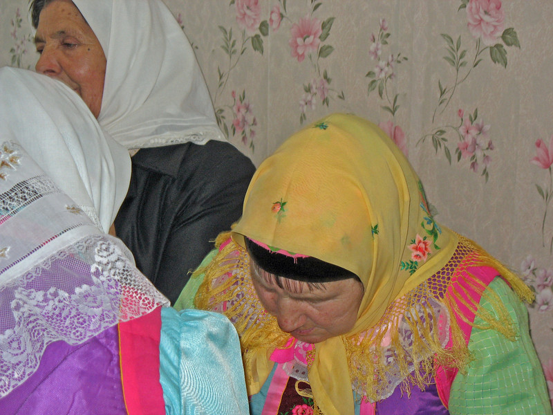 Doukhobor women greeting each other.
