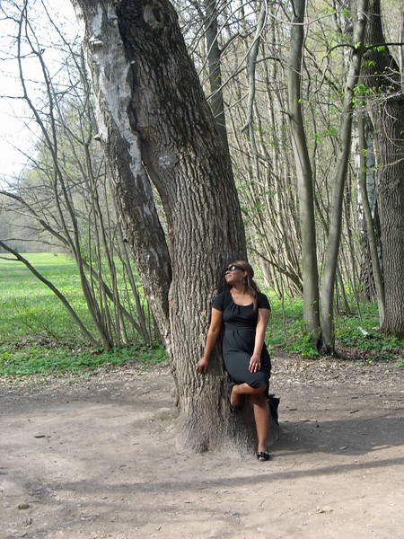 """Staci at """"Lover's Tree"""" (two trees entwined) on the grounds of the Yasnaya Polyana."""