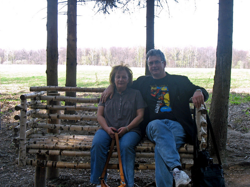 Sitting on Tolstoy's favorite bench.