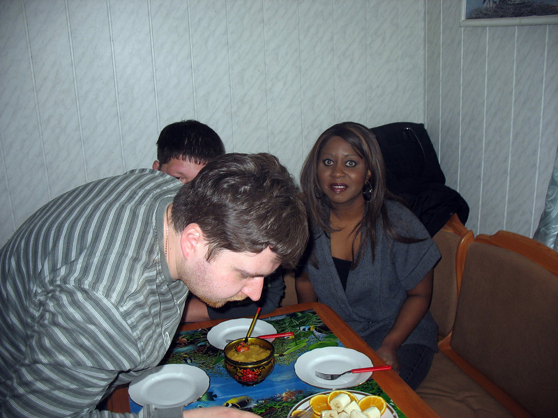 Staci & cameraman, Alexey, checking out the goodies.