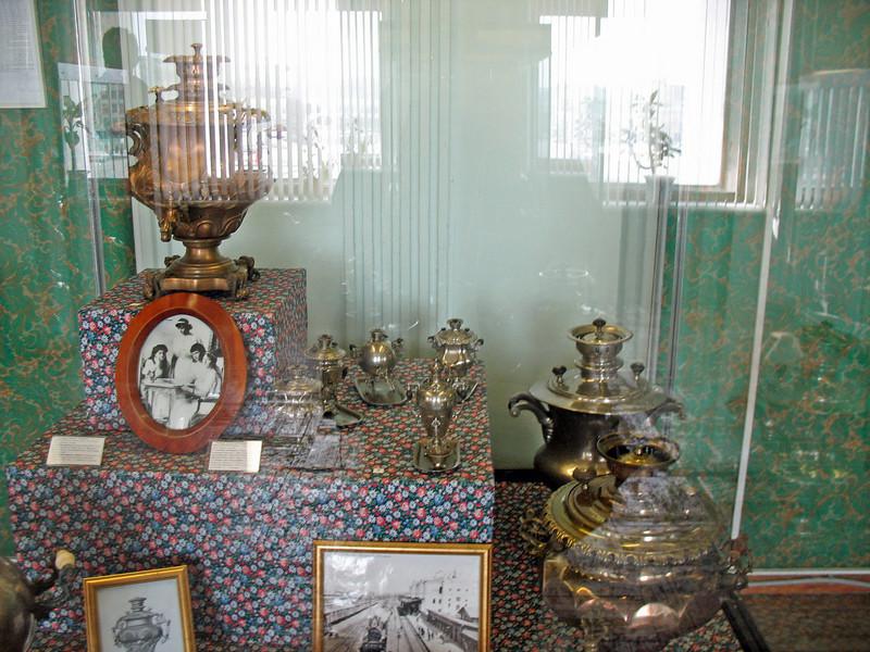 Centuries old samovars.