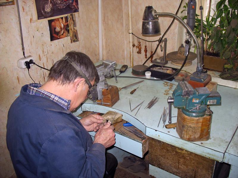 Detailed work on samovar spouts.
