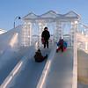 Kids enjoying sculpted ice slide. (Tyumen, Russia)