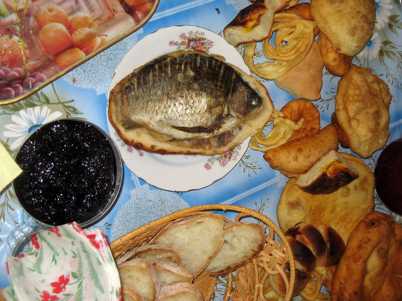 Dinner - dried fish, caviar, and fried goodies.