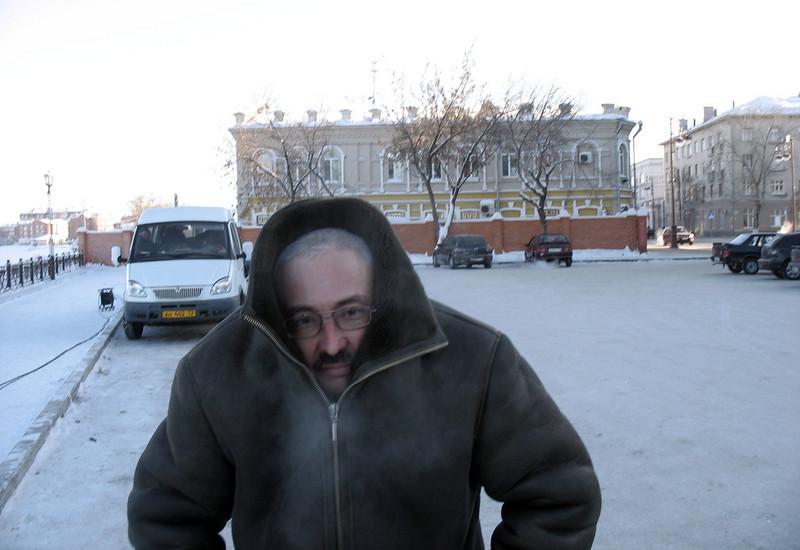 Рафик Тухтабаев без шапки. Rafik freezing without his hat.