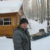 Game ranger in front of their cabin.<br /> Леонид, тобольский охотовед.