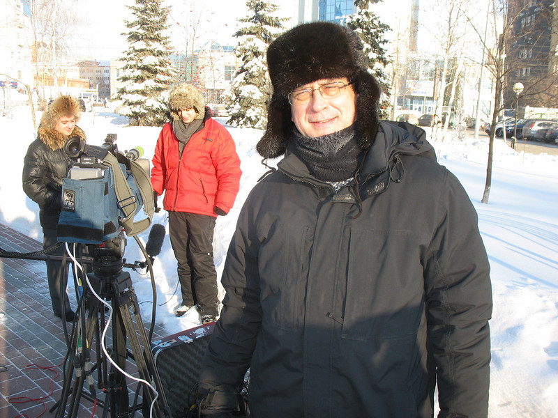 Braving the cold during our live broadcasting.