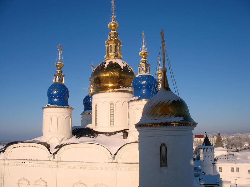 Tobolsk Kremlin church onion domes.