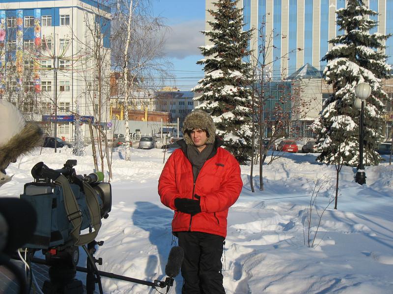 RT correspondent, Igor Ogorodnev, broadcasting live from Tyumen. (01.26.10)