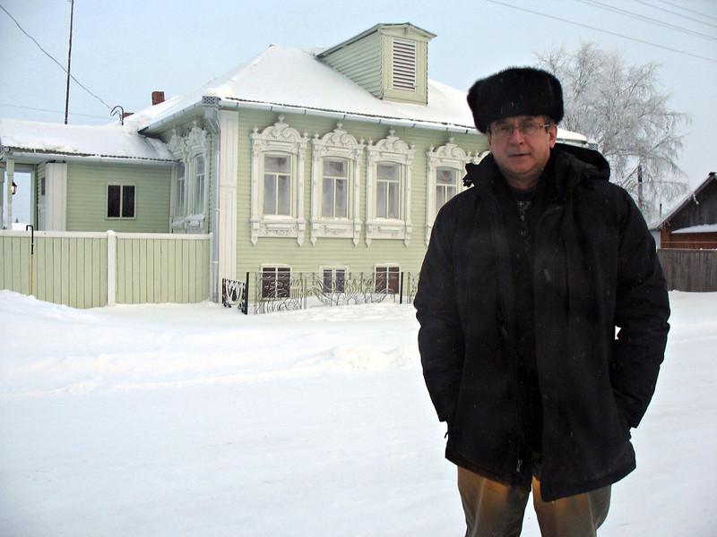 In front of Rasputin's home in the village of Pokrovskoye outside of Tobolsk.