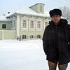 In front of Rasputin's home in the village of Pokrovskoye outside of Tobolsk.