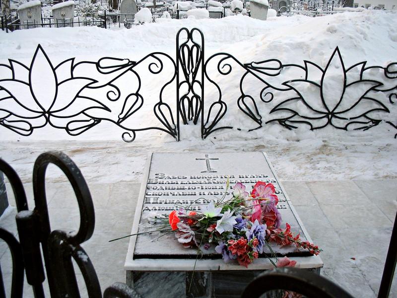 """Decembrist Wilhelm Küchelbecher's grave. <br /> Здесь, в Тобольске, был похоронен Вильгельм Кюхельбекер (""""Кюхля""""), скончавшийся в ссылке от туберкулёза в 1846 году."""