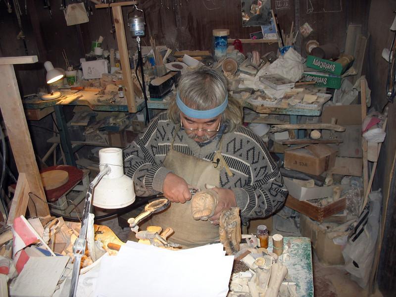 Minsalim carving in his studio. (Tobolsk, Russia)