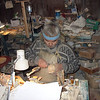 Minsalim carving in his studio. (Tobolsk, Russia)