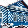 Blue house in the village. Голубень.