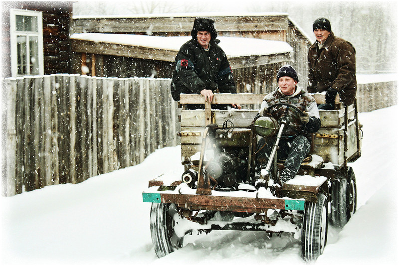 Driving a 'Top-Top' through the streets of Tatarsky Saiman. <br /> <br /> More than 200 residents of this village drive some kind of homemade vehicle known as 'Top-Tops'. The tradition started more than 50 years ago when it was difficult to purchase a car due to finances & shortages. The head of the village council first made one & it caught on. People would gather parts of discarded, broken-down vehicles & make their own, often assembling their own engines. Now, it's a tradition that villagers are quite proud of. Needless to say, they come in all kinds of configurations.