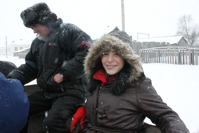 RT correspondent, Karen Tararache, gets a lift in Tatarsky Saiman.