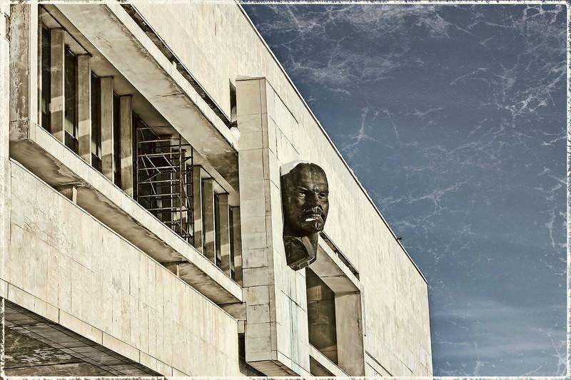 Lenin bust on the side of the Lenin Museum.