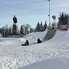 Sledding under Lenin.
