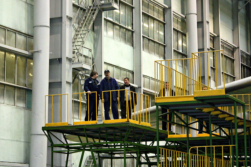 Worker platforms in the Aviastar Aviation Factory.