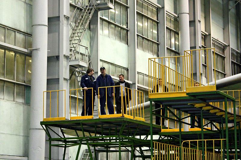 Worker platforms in the Aviastar Aviation Factory.
