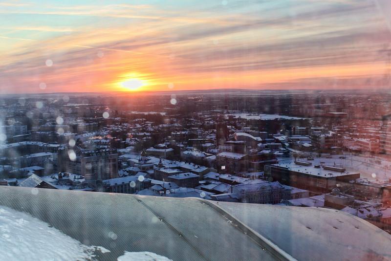 Sunrise over Ulyanovsk from the hotel window.