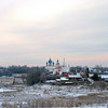 Suzdal Kremlin churches viewed from the road.