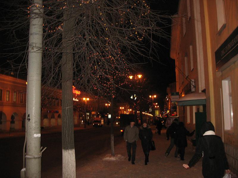 The streets of Vladimir at night.