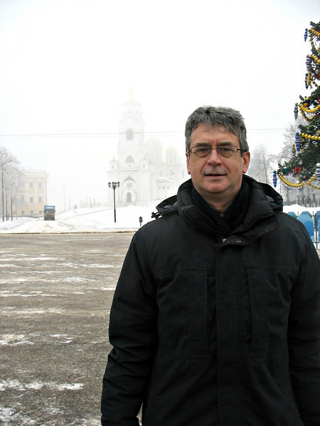 In front of Vladimir's barely visible Cathedral of the Dormition.