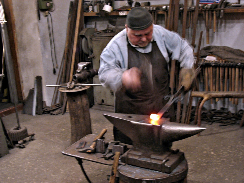 Yuri Borodin, blacksmith & artisan, at work. (Vladimir, Russia)