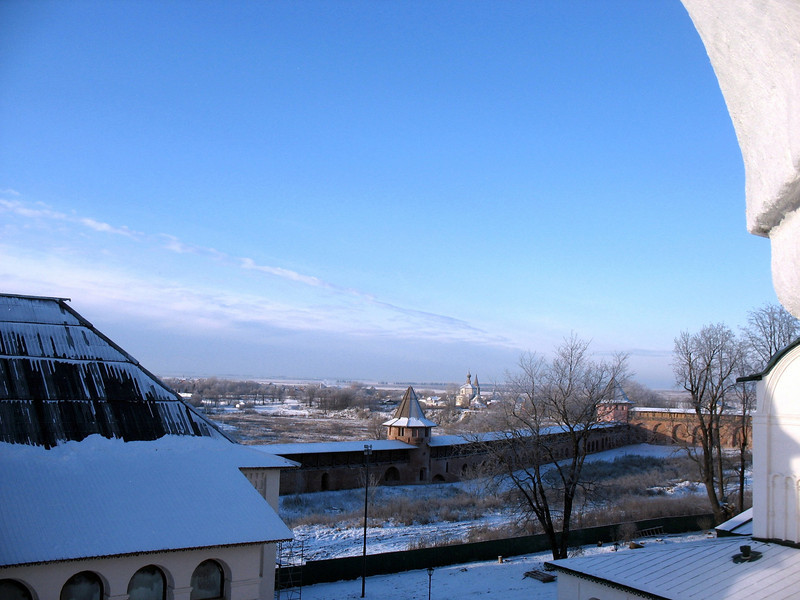 Monastery walls as seen from the bell tower. (Suzdal, Russia)